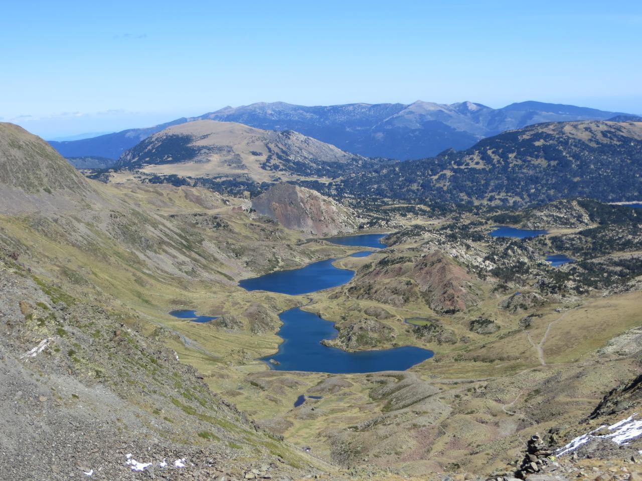 Sommet du Carlit vue sur les lacs des Bouillouses